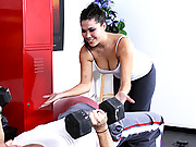 Busty Asian loves pounding big hard cocks at the gym