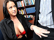 Busty slut gets fucked at work