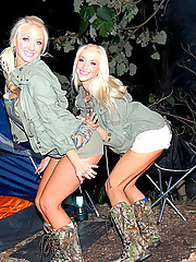 2 booty short teens fuck eachother in these hot outdoor camping pics