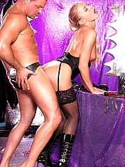 Kinky blonde babe loves spanking her manslave