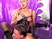 Leather wearing babe fucked hard in her butt