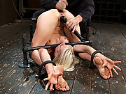 Super cute blond girl next door, get bound in hard metal and anally fucked until she cums!