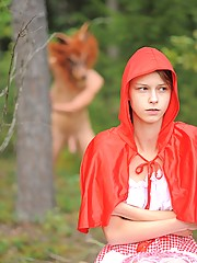 Cute red riding hood fucked by big bad wolf