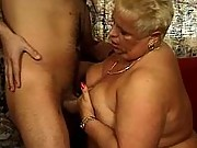 Fat old babe blowjob and tit wank