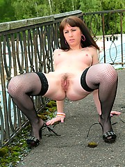 Beautiful, natural Anna R is hairy and kinky outside. She