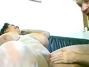 Fatty in flour gets face fucked