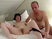 Older amateur couple enjoy foreplay