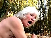 Grey granny muff gets fingered
