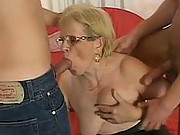 Speccy granny gets double dicked