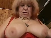 Bouncy granny tits riding a cock