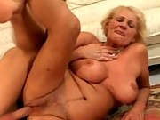 Happy granny fucked and a facial