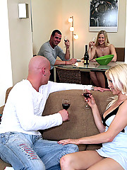 Smoking hot fucking blondes get fucked hard by 2 cocks in this full on 4some fuck fest pics