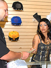 Watch this hot fucking latina get her big tits hot ass fucked hard in the clothing store in these hot amateur pics
