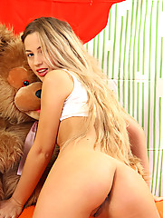 Long haired amateur Vova stripping down her white undies with her petite boobs pop out