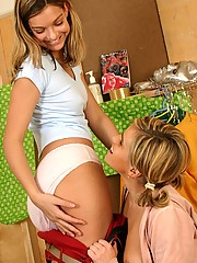 Lesbians licking eachothers big strapon toys