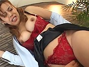 Jun Rukawa big tits in a red lace bra and matching panties