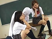 Japanese AV Model cute schoolgirls getting fondled