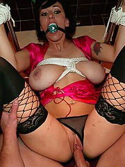 MILF slut roped and fucked with no mercy or remorse