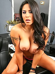 Busty brunette gets fucked in the office