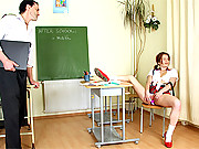 Schoolgirl in stuck in detention bangs senior