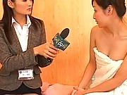Japanese AV Model conducts an interview naked with a cute lesbian