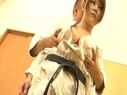 Japanese AV Model has her tits groped by her martial arts teacher
