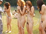 Japanese AV Model cute slave girl chained naked to her friends