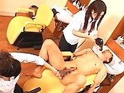 Japanese AV Model and a co-worker help out a nude customer