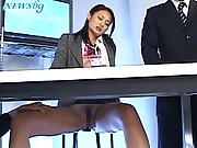 Japanese AV Model news anchor who loves showing her pert tits