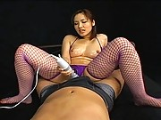 Nao Ayukawa uses a vibrator to stimulate her pussy and his cock