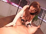 Rio Hamasaki rubbing her boyfriends cock and making it hard