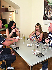 Watch these 2 hot euro babes get drilled in their asses and pussies in this full on group sex pic set