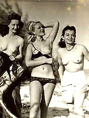 Real vintage naked chicks playing outdoors