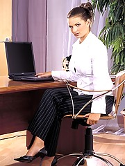 Secretary fondling her own clit at the office