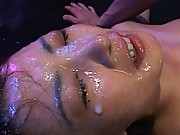 Mirei covered in cum in this messy bukakke video