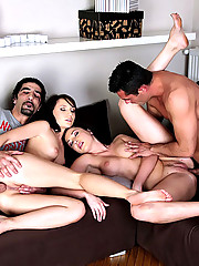 Watch 2 hot fucking hard plump ass babes get fucked hard in these group sex anal fucking cumfaced pics