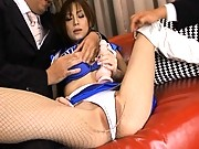 Miina Yoshihara Sexy cheerleader gets white panties played with