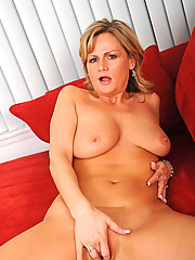 Anilos Becca Blossoms spreads her pink pussy and fucks herself on the couch
