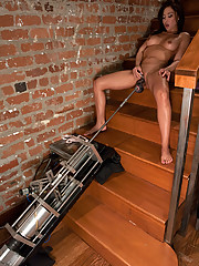 Latina babe pounded by machines with cocks that just barely fit in her tight pussy. She stuffs herself with a black dong on a fast machine and cums.
