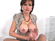Mature busty hot wife cock milking