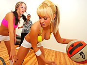 Sexy teen sucks the refs cock after the game