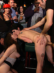 Dana DeArmond is humiliated and fucked in a crowded dive bar
