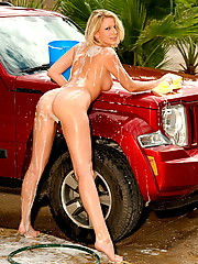Danielle Maye puts on a naked car wash