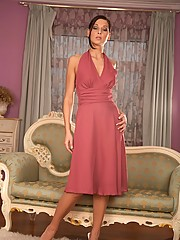 Evelyn Lory takes off her dress and red panties