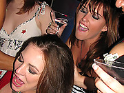 Drunk and slutty amateur girls having mad fun with male strippers