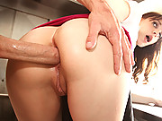 Hot brunette gets anal blasted