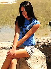 Cierra Spice starts to take her clothes off and takes a dip in the river