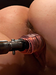Girl next door machine fucked in bar with a powerful custom machine - smooth stroke pounds two hot orgasms out of her juicy pink pussy.