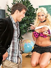 Blond slut seduces her teacher