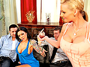 Slutty wives swap husbands and have a crazy foursome